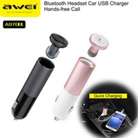 Wholesale Awei A870BL Wireless Headset Mini Bluetooth in Ear Earphone with USB Ports Car Charger Adapter A V CVC Aluminium Alloy Mutil Connection