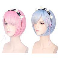 Wholesale 35CM Cosplay Wigs Ram Rem Cosplay Wigs Short Heat Resistant BOB Hair Zero Kara Hajimeru Isekai Seikatsu b