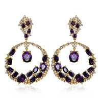 big earrings suppliers - Very Nice Workmanship Jewelry Supplier Gold plate With Colors Cubic Zirconia Big Round Dangle Pendant Attractive Earrings