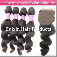 European Hair Loose Wave 100% Virgin Human Hair silk based closure hair closure virgin hair closure loose wave hair Virgin Brazilian 3 bundles hair extension and 1 silk closure
