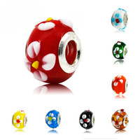 Wholesale Silver DIY Murano Glass Beads Charms Fit Original Europe pandora Bracelets For Women Jewelry Accessories