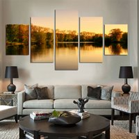 beautiful lake pictures - Beautiful autumn tree lakes and mountains Panels Set HD the picture Canvas Print Painting Art work decorative painting No Frame
