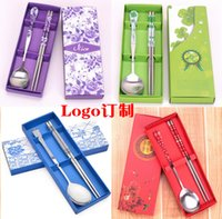 Wholesale Custom stainless steel tableware porcelain spoon chopsticks Gift Box Set Combs company activities LOGO customized gifts
