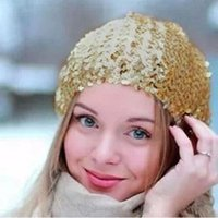 Wholesale New Women Lady Stretch Shining Sequin Beret Hat Party Stage Beanies Caps Gold Black Red