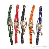 antique grey - 7 Colors Women Leather Vine Watch Leaf Pendant Bracelet Wristwatches Retro Vine Leaf Pendant Weave Wrap Quartz Watch FREE SHIP