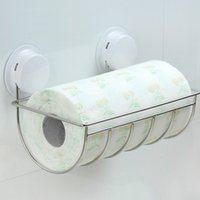 Wholesale Multifunctional SUS Sucker Paper Towel Rack Roll Tissue Holder Bathroom Fixture Hardware Tools Bathand kitchen Accessories