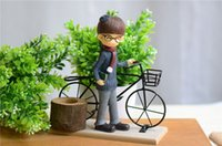 Wholesale Lovers bicycle place adorn Resin wrought iron combine home decoration gifts Popular birthday gift