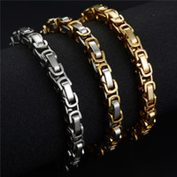 Wholesale Factory Direct Never Fade L Stainless Steel Byzantine Chain Bracelet mm wide For Bangle Male Accessory