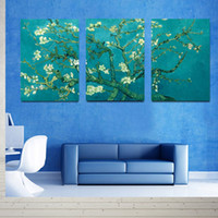 apricot pictures - Hot Sell Piece Blooming Apricot Blossom Canvas Modern Triptych Wall Painting Van Gogh Home Decorative Art Picture Prints on Canvas Prints