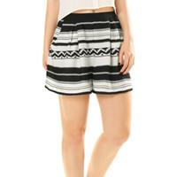 Wholesale Women s Shorts Chuvivi Apparel Women s Casual Regular Inverted Pleats Detail Elastic Waist Relaxed Geometric Shorts