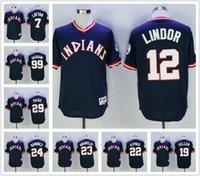 Wholesale Men s Francisco Lindor Bob Feller Ricky vaughn Frank Robinson Jason Kipnis Jersey turn back Baseball Jerseys