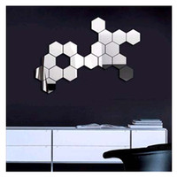 adhesive mirror paper - 3D Mirror Wall Stickers Geometric Hexagon Acrylic Wall Sticker Home Living Room Decoration Honeycomb Wall Decal