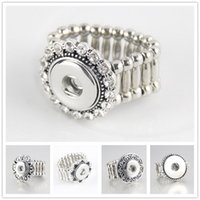Wholesale NOOSA Fashion Elastic Rope Style DIY Chunk Snap Button Ring DIY Noosa Ginger Snaps Interchangeable Jewelry For Women