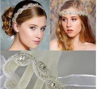 Wholesale Crystal Ribbon Hair Band Wholesale - 2017 Vintage Bridal Crown Tiara Wedding Jewelery Bohemia Hair Accessories Elegant Headpieces Frontlet Hair Band headbands for Bridal