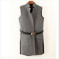 Wholesale 2016 new vest women waistcoat fragrant long paragraph sleeveless vests fashion wild woolen waistcoat women s vest with belt