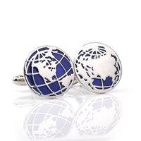 best world globe - Globe Cufflinks retail Novelty Blue Color World Map Design Quality Brass Material Best Gift For Men