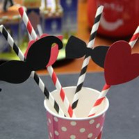 Wholesale 80pcs Cartoon Paper Drinking Straws Kids Birthday Party Supply Wedding Party Decorations styles Mustache Lips Heart Bowtie
