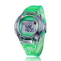 alarm purple - Cartoon sport digital watch SYNOKE cheap fashion round green wristwatch with alarm rubber watch band for kid boy and Girl s Gift