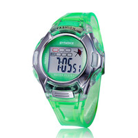 Wholesale Cheap Water Resistant Sport Watches - Cartoon sport digital watch SYNOKE cheap fashion round green wristwatch with alarm rubber watch band for kid boy and Girl's Gift