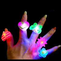 Wholesale 50pcs Cartoon soft led finger ring toy flash luminous ring toy party props light up toy and kids birthday colorful gift