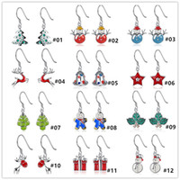 Wholesale XMAS Gift styles silver jingle Bell Santa Claus christmas trees snowman reindeer Earrings Jewelry for women