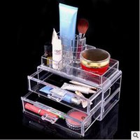 Wholesale Fashion Transparent Crystal Storage Box Makeup Organizer Cosmetic Acrylic Clear Jewelry Display Case Jewelry Box CCA4545