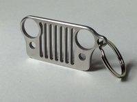 Wholesale 2016 Portable Stainless Steel Jeep Grill Grille Key Chain Silver KeyRing CJ JK XJ TJ