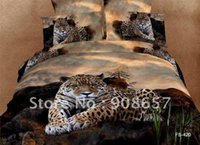 Wholesale brown leopard animal printing Egyptian cotton bedding set duvet quilt covers sets pc for Queen full comforter bed in a bag sets