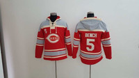 bench sweater - Cincinnati Reds Mens Sweaters Johnny Bench Red Baseball Jersey Hoodies Stitched Name Number and Logos