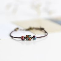 artistic beads - 2016 Multicolor Handmade original design woven string ceramic beads bracelet Creative artistic accessory Women bracelets