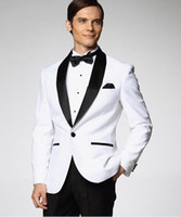 Tuxedos autumn men style - Top Selling White With Black Satin Lapel Groom Tuxedos More Style Choose Groomsmen Men Wedding Suits Jacket Pants Bow Tie Handkerchief A1