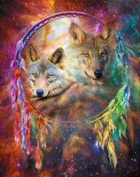 bedroom crafts - DIY Diamond Painting Embroidery D Wolf Dream Catcher Cross Stitch Crystal Square Home Bedroom Wall Art Decoration Decor Craft Gift
