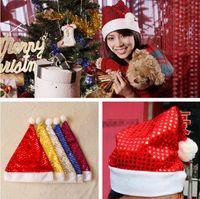 Wholesale Christmas Hat Cap Sequin Shining Christmas Hats Red Santa Hats Cute Adults Christmas Party Caps Santa Clause Navidad Caps PPA470