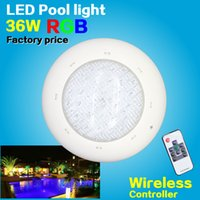 Wholesale IP68 LED swimming Pool light w w RGB Remote controller V DC AC Underwater lights pond bulb Freeshipping