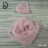 baby bonnet photo - 60x30cm Handknit Wraps Set Wraps with Bonnet Soft Real Little Mohair Baby Photography Props Newborn Photo Wraps