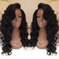 Célébrités de couleur naturelle des cheveux Avis-Celebrity style Perruques synthétiques perruque corps vague Perruque de cheveux Naturel noir 1B couleur avec bangs latéraux pelucas femmes noires pleines perruques