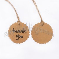 Wholesale Wedding Brown Kraft Paper Tags Scalloped Circle Thank You Tags With Twines Kraft Gift Tags Favor Box Tags