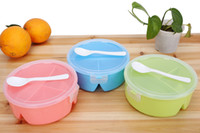 bento boxes - 3 Color Compartment Portable Bento Microwave Lunch Box Round Picnic Container Storage Spoon Food Grade PP BPA Free