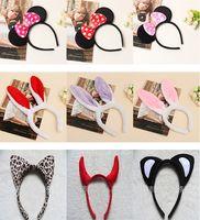 Wholesale New Minnie Mouse Ears Bow Headband Hen Nights Womens Girls Mickey Party Fancy Dress Tigger Leopard Ox Plush Cosplay Festive Supplies ZJ H01