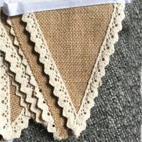Wholesale Wedding scene layout m Lace linen pennant jute flag Rustic Hessian Burlap Lace Bunting