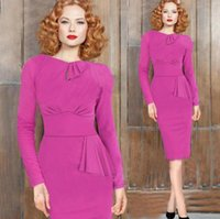 Wholesale 2016 New Arrival Time limited Wear To Work Work Dresses Ladies Formal Clothes Long Sleeve Women s Peplum Slim Pencil Party Evening Sexy
