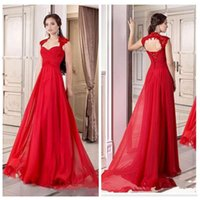 beautiful women portraits - Red Portrait Lace Appliques Chiffon A Line Evening Chiffon Prom Dress Beautiful Women Formal Wear Garden Outside Dress Cap Shoulder