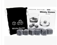 Wholesale 9pcs set High Quality Natural Whiskey Stones Cooler Whisky Rock Soapstone Ice Cube With Retail Box Velvet Storage Pouch
