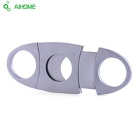Wholesale Pieces Silver Stainless Steel Pocket Cigar Cutter Knife Double Blades Scissors Shears New Arrival