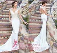 amazing kitty - Amazing Kitty Chen Sheath Wedding Dresses Deep V Neck Bare Back Appliques Vintage Garden Beach Boho Court Train Bridal Gowns
