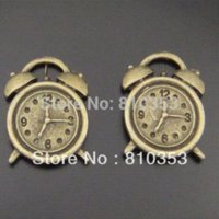 alarm clock pendant - Whosesale Antique Style Bronze Cute Alarm Clock Charms Pendant Hot Sale mm pendant clock pendant necklace