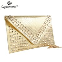 Wholesale Cappuccino new collection high quality pu leather ladies fashion evenlop clutch bags Detachable shoulder strap wrist band