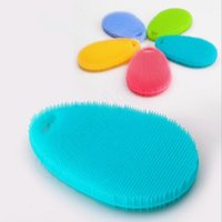 Wholesale LJJG141 Multi function Soft Silicone Brush Pan Dish Bowl Cleaning Brush Fruit Vegetable Brush Scrubber Brushes Kitchen Accessories