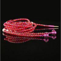 al por mayor bling tapones para los oídos-Nuevo estilo collar de cadena de la perla del diamante de Bling del enchufe del auricular de 3,5 mm en la oreja los auriculares Hi-Fi estéreo con cable con el envío libre Mic
