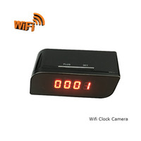 Wholesale P2P Wifi Pinhole Hidden Alarm Clock Camera Mini Clock H Spy Camera Night Vision Motion Detection for Cellphone Wireless Connection